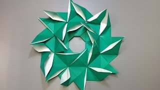 Easy Origami Pinwheel Christmas Wreath