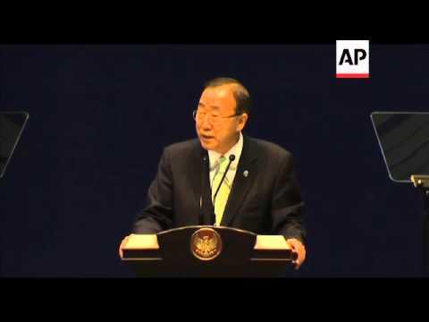 UN Sec Gen Ban Ki-moon makes keynote speech