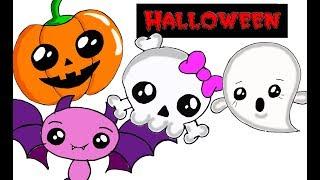 How to Draw Halloween Pumpkin/ HALLOWEEN KAWAII /РИСУНКИ НА ХЭЛЛОУИН В СТИЛЕ КАВАЙ
