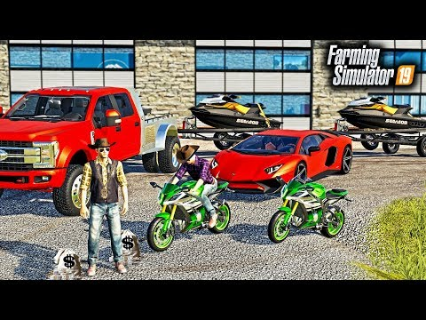 REPOING JET-SKIS & MOTORCYCLES WITH MR. CHOW! (MOTORCYCLE CHASE & POLICE) | FARMING SIMULATOR 2019