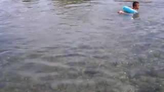 屋久島の夏休み最後の海水浴.