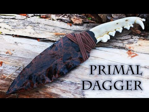 Making a Far Cry Primal Inspired Flint Knapped Stone Dagger with Jawbone Handle