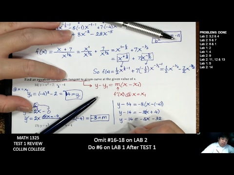 MATH 1325 Test 1 Review COLLIN COLLEGE