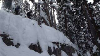 Vail Skiing Cliff Drop in Mushroom Bowl Thumbnail