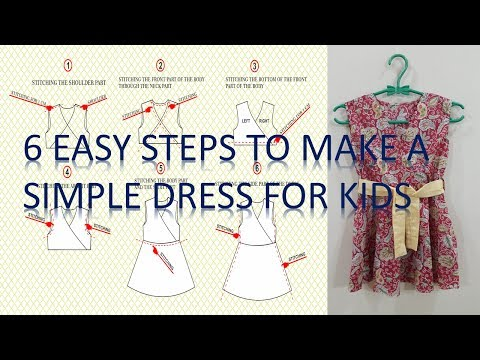 How to make a simple dress pattern and to sew it step by step for beginners