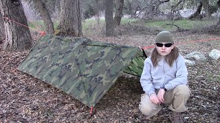 Little Dude Practicing The Military Poncho A-Frame Shelter