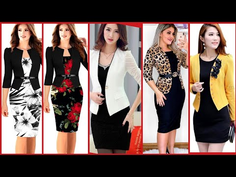 Most Trending 2021 Daily Work Wear Women's 2 Piece bodycon Dresses/Slim fit Bodycon Business Outfit