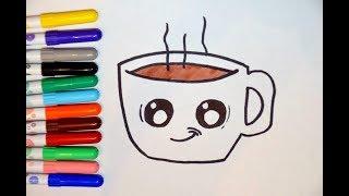 Рисуем каваи кружку кофе. How to Draw a Cartoon Cup of Coffee