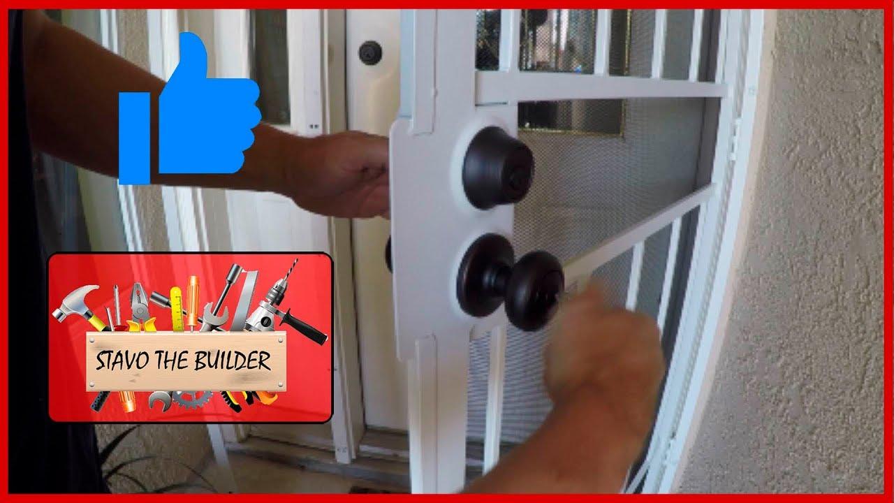 Como Instalar Una Cerradura Para Una Puerta De Hierro Security Door Lock Installation Youtube