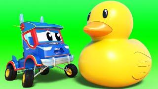 Truck videos for kids -  SUMMER: Rubber Ducks flood the canal - Super Truck in Car City !