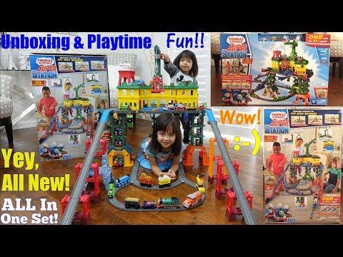 Thomas & Friends Super Station Set! Thomas the Train Playset Unboxing & Playtime w/ Hulyan & Maya