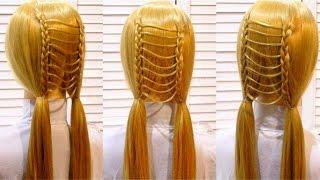 Легкая прическа в школу с плетением на длинные и средние волосы Easy school hairstyle