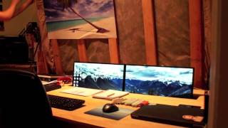 Pneumatic Bed And Desk With Ascending Dual Monitors