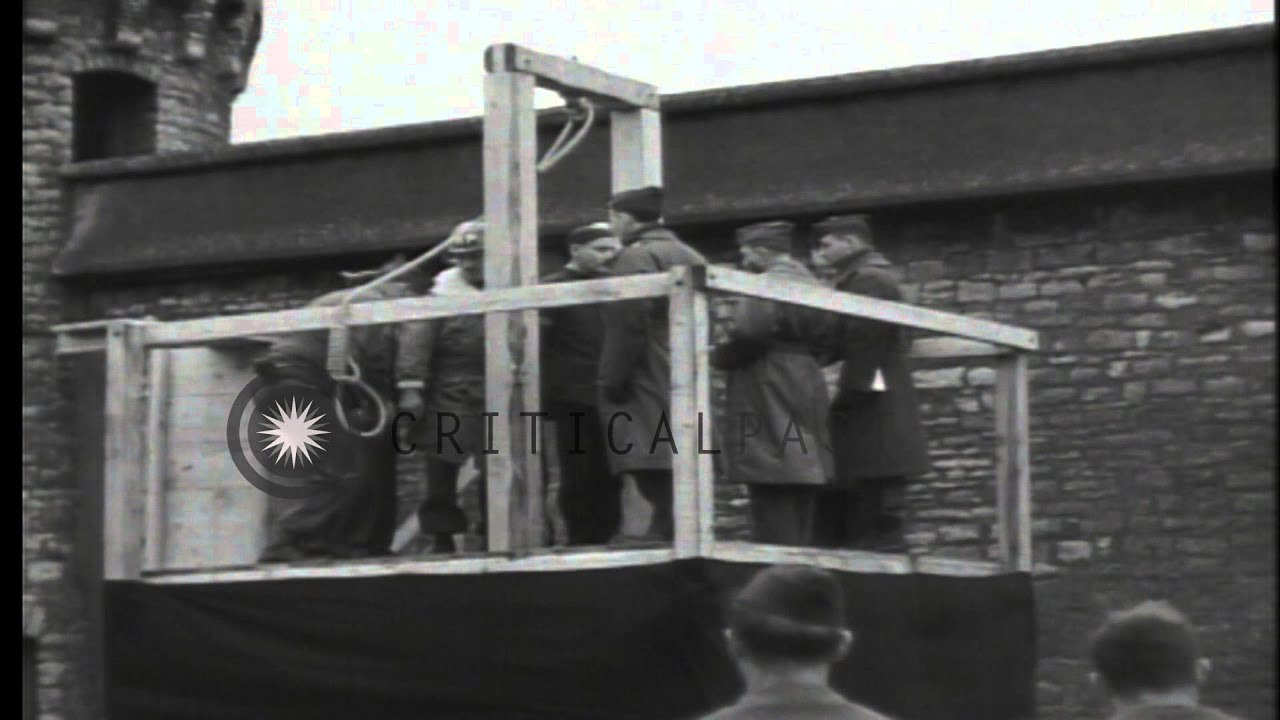 A Nazi war criminal is brought to scaffold for execution by method of hanging in ...HD Stock Footage