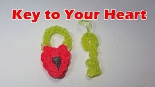 Rainbow Loom: Heart Lock and Key Charm (Valentine