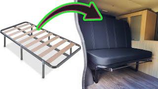 Como hacer ASIENTO CAMA CAMPER para furgoneta usando somier viejo   Montaje en furgo Renault Trafic