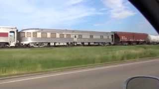 (HD) BNSF: Passenger Cars, Caboose, and Green SD40-2
