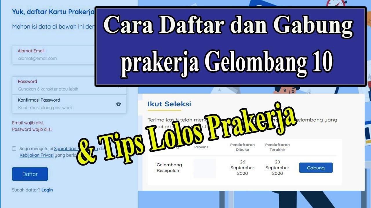 CARA DAFTAR DAN GABUNG PRAKERJA GELOMBANG 10 - YouTube
