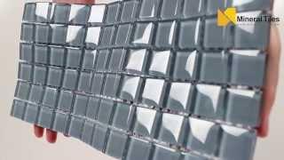 Glass Mosaic Tile Backsplash Grey Light 1x1 - 101CHIGLABR104