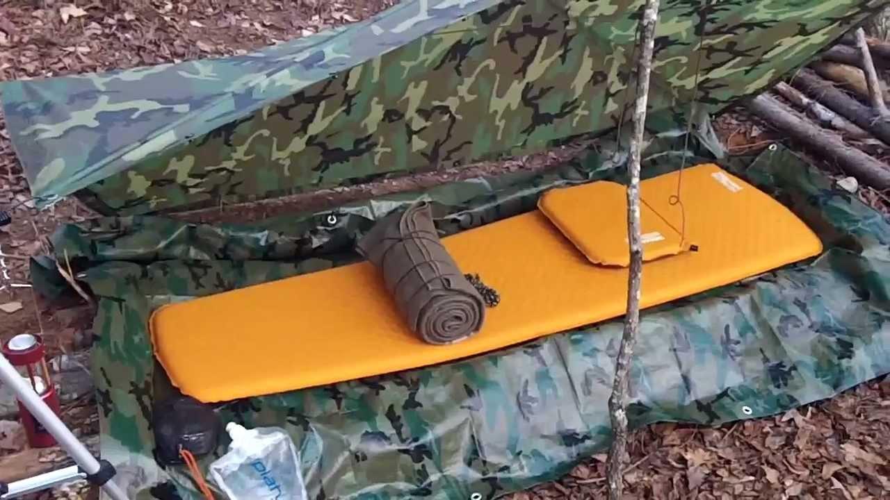 & 2 Bushcraft US Military Poncho Survival Tarp Shelter Set ups - YouTube