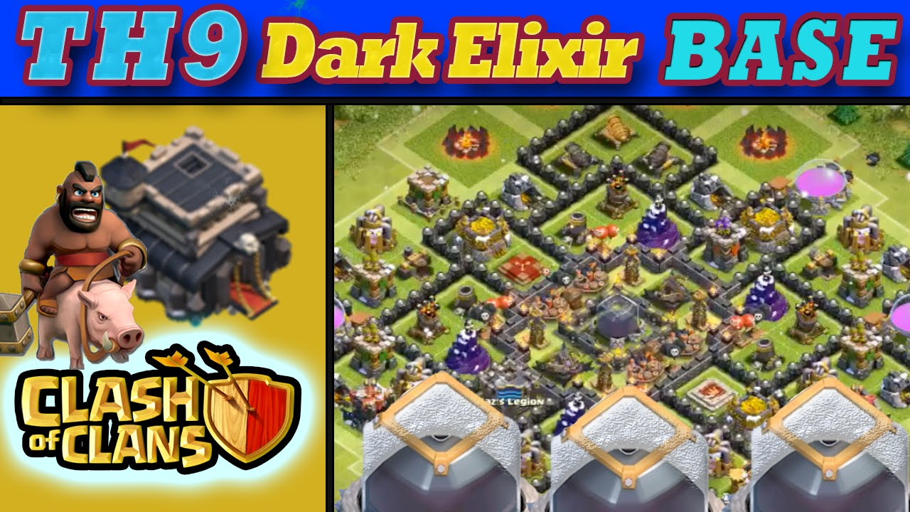 Clash of clans town hall 9 dark elixir de protection base quot circle
