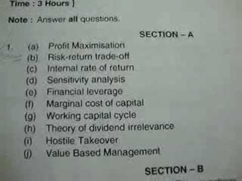 ou mba 2nd semester financial management july 2011 question paper