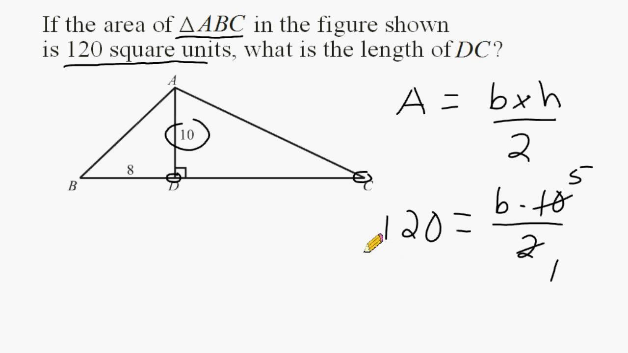 Using Given Triangle Area To Find Unknown Length Of A Line Segment