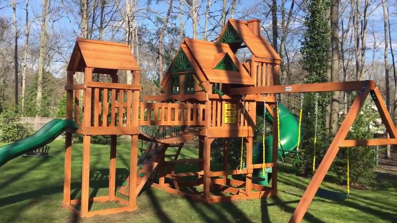 Gorilla Treasure Trove Treehouse Swing Set Youtube