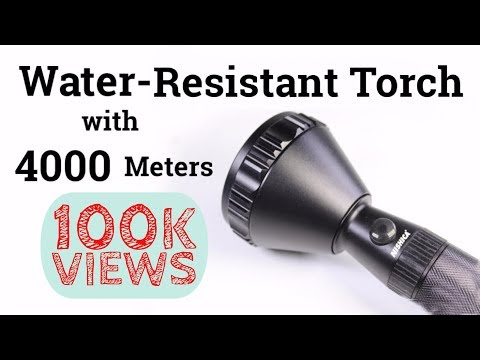 Water-Resistant Torch with 4000 Meters Range in India | Hindi Review | Nishica Torch