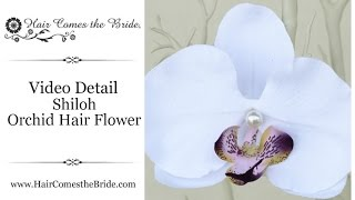Orchid Bridal Hair Flower by Hair Comes the Bride - Shiloh White and Purple