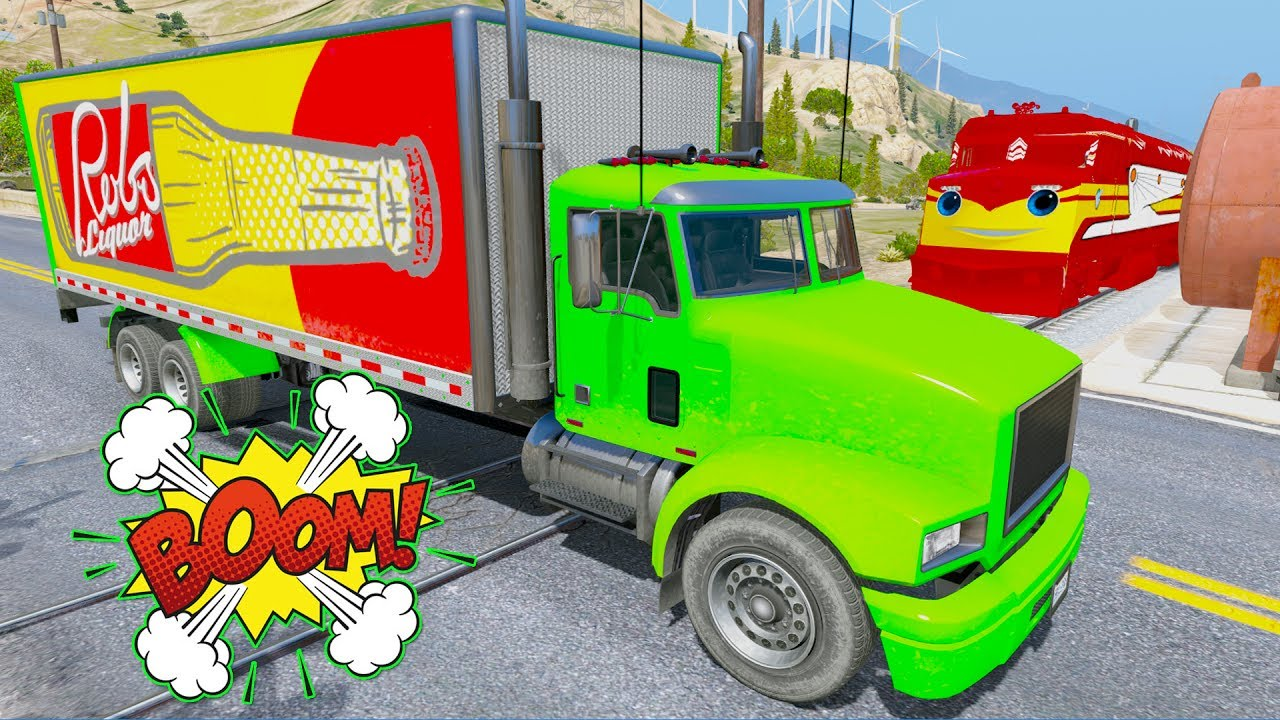 Learn Color Truck In Trouble w Train & Emergency Bus Cars Crash By ...