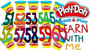 LEARN TO COUNT NUMBERS 51-60 WITH PLAY-DOH In ENGLISH l Squishy Fun