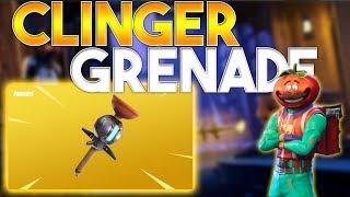 **NEW** CLINGER GRENADE GAMEPLAY! (Fortnite BR Sticky Grenade Gameplay)