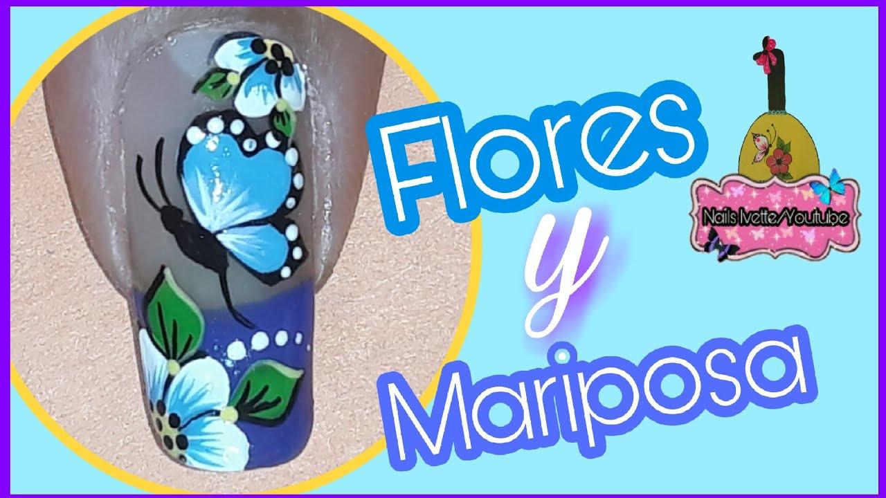 Uñas Decoradas Con Flores Y Mariposanail Decoration Flowers And