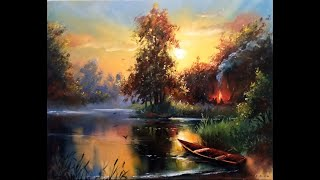 #19 Самая ПРОСТАЯ ТЕХНИКА рисования. Как нарисовать вечерний пейзаж маслом