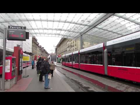 Trams at Bahnhof Bern, Switzerland