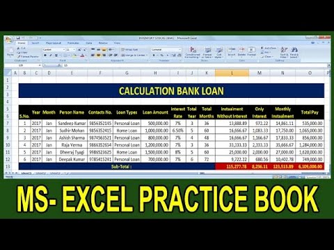 Exercise 52 | Excel Practice Book | How To Calculate Bank Loan Interest Ms Excel