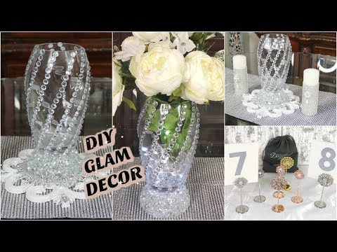 DIY DOLLAR TREE BLING WEDDING DECOR 2019  WITH GLAM TABLE NUMBER HOLDERS FT TOTALLY DAZZLED 💎