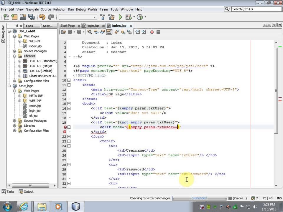 Login example MVC - JSP