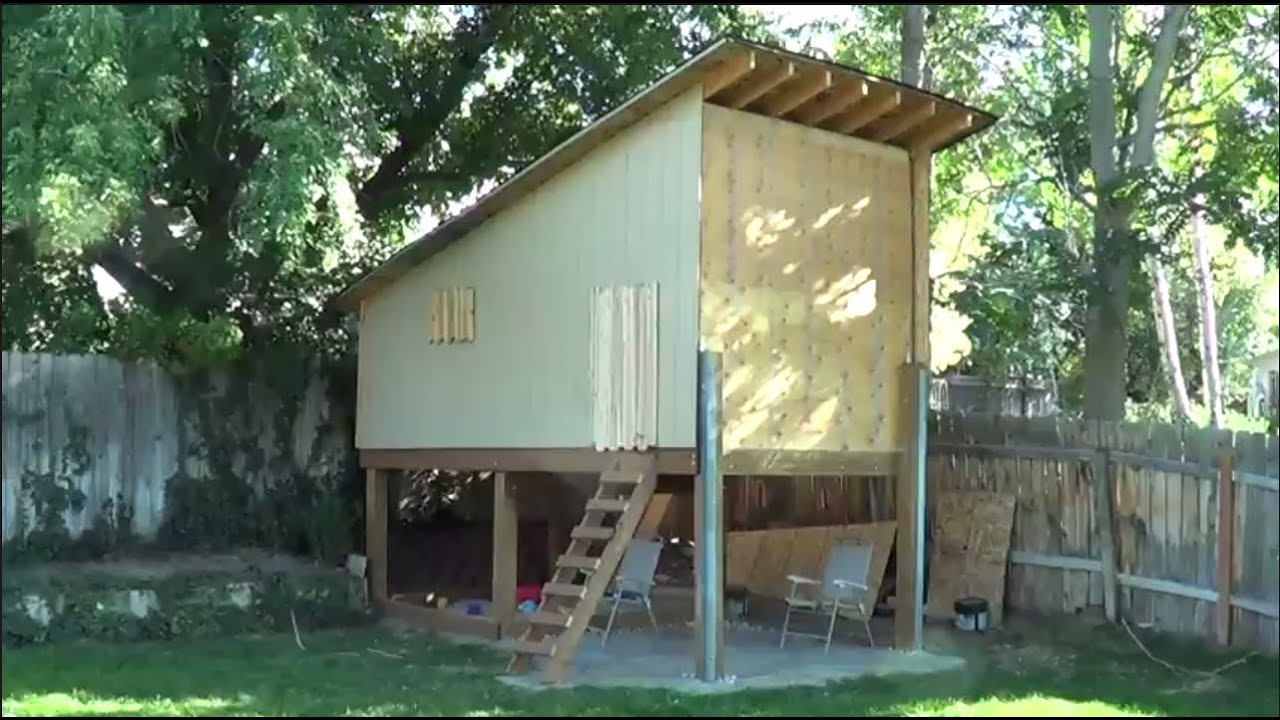 Tour Of Elevated Playhouse / Treehouse I Built In The Backyard   YouTube