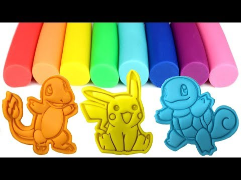 Pokemon Go Pikachu Play Doh Molds and Toys Bulbasaur Charmander Squirtle Eevee ポケットモンスター thumbnail