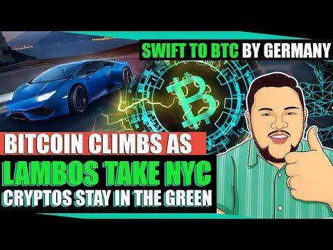 Bitcoin & Ethereum Climbs As Lambos Flock NYC + German Bank Replaces SWIFT With Bitcoin