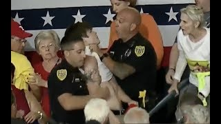 Idiotic Communist Protester Gets Handled by Police at Trump Rally in Youngstown Ohio
