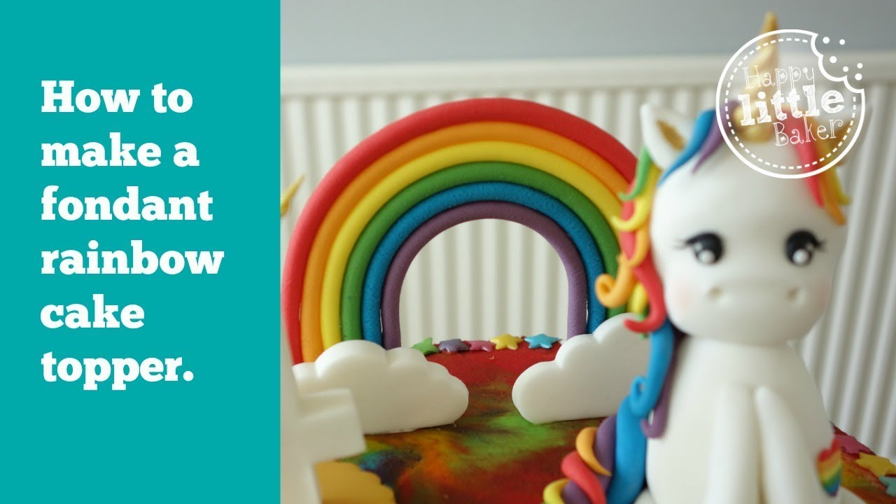 rainbow cake topper how to make a simple fondant rainbow cake topper 6945