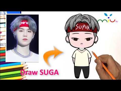 How to draw SUGA BTS | Cách vẽ Suga BTS BT21 | MiuTV