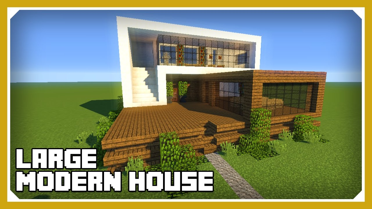 Minecraft how to build a large modern house tutorial for How to build a modern house