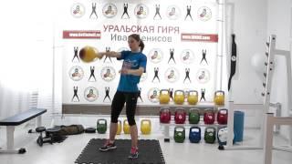 Упражнение с гирей «Подрыв гири одной рукой». Ксения Дедюхина