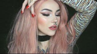 everyday drugstore makeup only tutorial   brown smokey cat eye nude lip