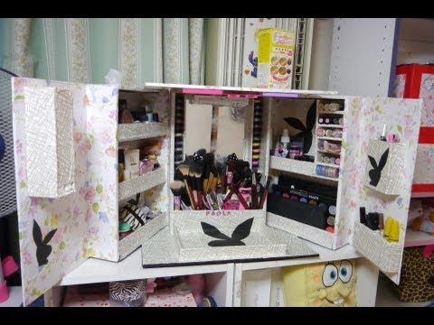 Manualidades organizador de maquillaje completo - Como hacer un armario de carton ...