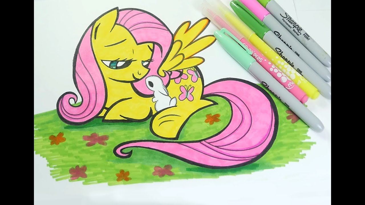 fluttershy coloring page my little pony coloring book for kids